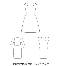 Vector illustration of dress and clothes sign. Set of dress and evening vector icon for stock.