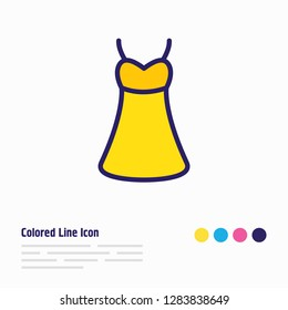 Vector illustration of dress icon colored line. Beautiful clothes element also can be used as sundress icon element.