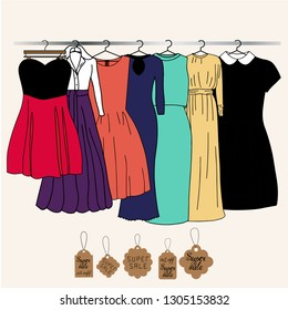 Vector illustration of a dress on a hanger in a store with tags of discounts.