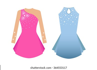 Vector illustration of dresses for ice skating. Blue and pink colors. Elements for design on white background.