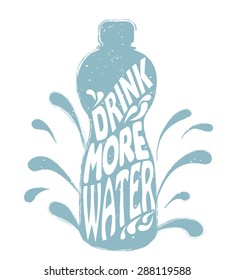 Vector illustration, drink more water. Bottle silhouette