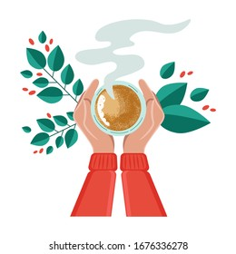 Vector illustration drinking coffee. Tea coffee break, mug, hands top view. Female. Green leaves and red fruits of coffee. Friendly support in difficult times, conversation women coffee houses