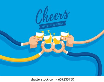 Vector illustration of drinking shots and whiskey, cheers, clinking glasses, party, four hands in flat design. Drink with friends. Four shot glasses