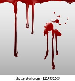 Vector illustration of dripping blood and set of different gore splashes, drops and trail isolated on background
