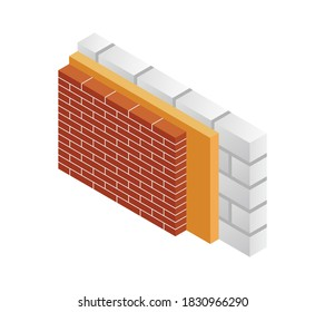 Vector illustration driving insulation brick wall. Isometric white brickwork isolated on white background. AAC block wall of the house icon for web. Thermal protection. Material for home repair. 3D.