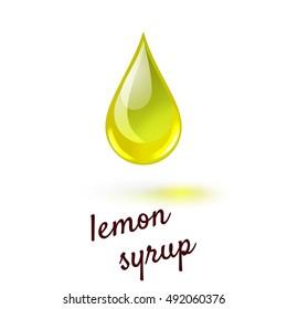 Vector illustration of drop of liquid sweet lemon syrup