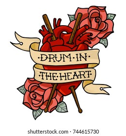 """Vector illustration """"Drum in the Heart"""" with human heart, drumsticks and roses. T-shirt design. Isolated on white background."""