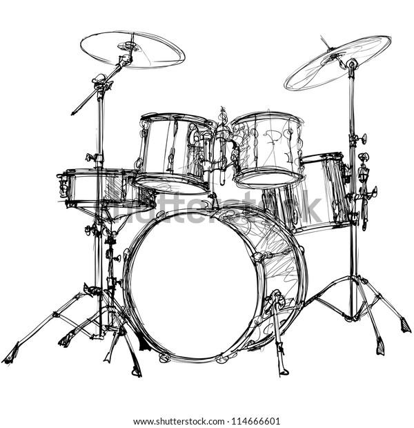 Vector Illustration Drum Kit Stock Vector (Royalty Free) 114666601