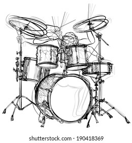 vector illustration of a drummer