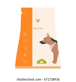 Vector illustration of dry dog food icon. Pet supply for feeding in flat style. Isolated on white background.