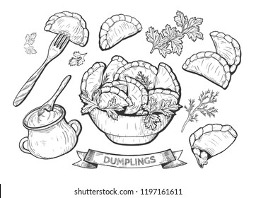 Vector illustration of dumplings set. Dumpling on a fork, a bowl, sour cream in a clay pot with a spoon, parsley, cherry filling. Vintage hand drawn drawing.