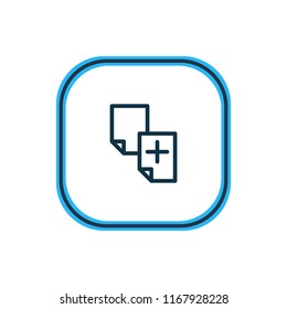 Vector illustration of duplicate content icon line. Beautiful marketing element also can be used as copy document icon element.