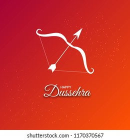 Vector illustration of dussehra poster, wallpaper, flyer and card with bow and arrow on shiny red background.