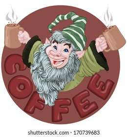 Vector illustration, dwarf with coffee, card concept.