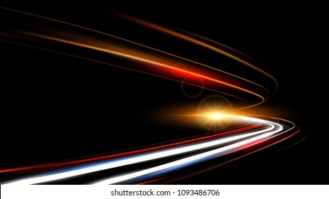 Vector illustration of dynamic lights speed road in dark background. Long exposure car light trails in road tunnel. Night time abstraction.
