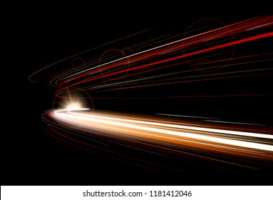 Vector illustration of dynamic lights speed road in dark background. Long exposure car light trails in road tunnel with motion red effect. Night time abstraction.