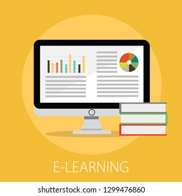 """Vector illustration of e learning & online education concept with """"e-learning"""" online education and learning icon."""