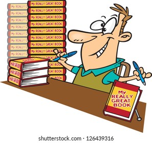 Vector illustration of eager author with stacks of books ready to sign
