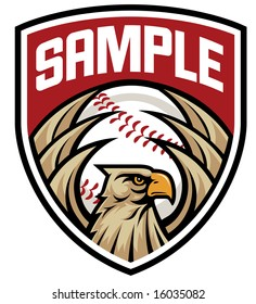 Vector illustration of an eagle crest to be used as a mascot or logo for baseball clubs, teams, schools, etc.