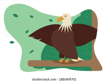 Vector illustration of an eagle on a tree branch, spreading its wings in a gust of wind.
