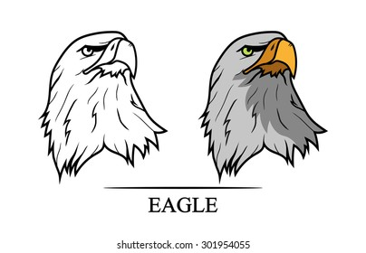 Vector illustration of eagle's head in black and color version.Tattoo style.