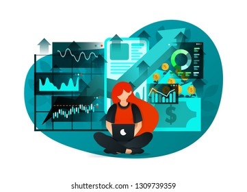 vector illustration of early investment literacy, future financial education, bank interest, mobile banking. young girl studying at internet to invest money to make profit. flat cartoon character