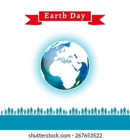 Vector illustration. Earth Day poster. Concept for celebrating of Earth Day. People care about the environment, loving world. Vector background with the globe with watercolor texture and atmosphere.