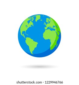 Vector illustration of an Earth Globe with green and blue colors