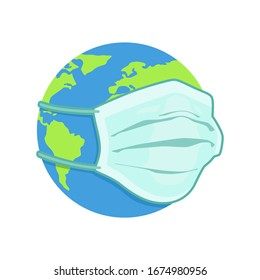 vector illustration earth globe with medical mask