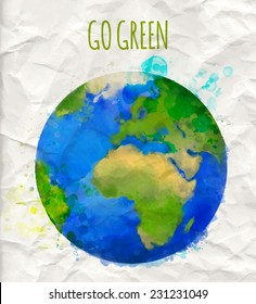 """Vector illustration of earth globe with watercolor texture and text """"go green"""". Ecology concept."""