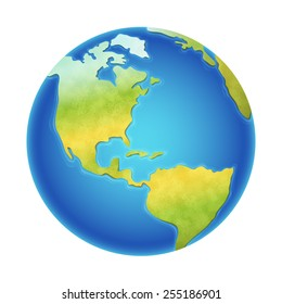 Vector illustration of earth isolated on white, with north, south and central america visible.