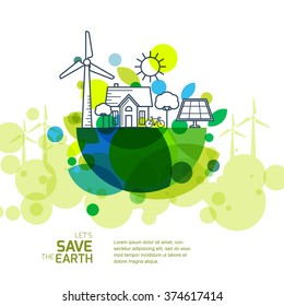 Vector illustration of earth with outline of wind turbine, house, solar battery, bicycle and trees. Background for save earth day. Environmental, ecology, nature protection and pollution concept.