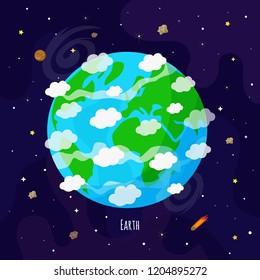Vector illustration of Earth planet. Kids illustration.