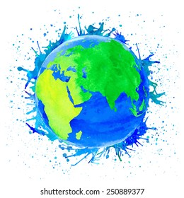 Vector illustration of Earth. Watercolor style with spots and splashes