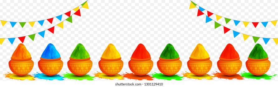 Vector illustration of earthen pots full of dry colors decorated on transparent background for Holi festival celebration header or banner design.