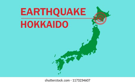 Vector illustration of Earthquake hits Hokkaido, Japan.