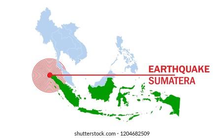 Vector illustration of Earthquake hits Sumatera, Indonesia.