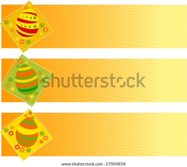 Vector illustration of Easter banners with eggs