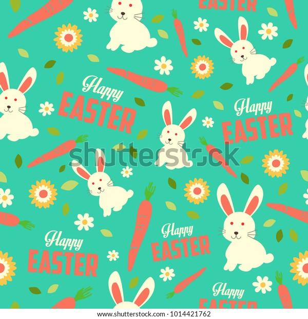 Vector Illustration Easter Bunny Spring Wallpaper Stock Vector