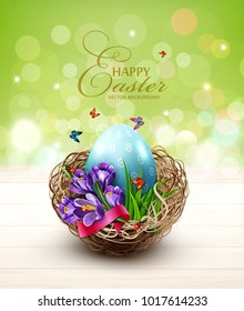 Vector illustration. Easter card with colorful eggs and crocuses, lying in a wicker basket, standing wooden table. Design element, greeting card template
