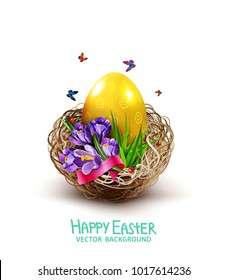 Vector illustration. Easter card with colorful eggs and crocuses lying in a wicker basket, isolated on white background. Design element, greeting card template