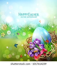 Vector illustration. Easter card with colorful eggs and crocuses lying in a wicker basket against the background of grass and sky. Design element, greeting card template