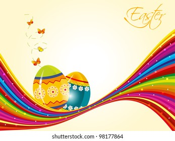 Vector illustration of Easter colorful  glossy eggs greeting, gift card or banner with space for your message. EPS 10.