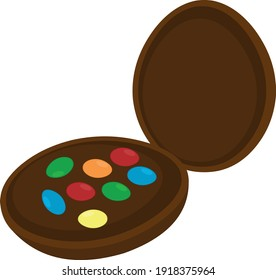 Vector illustration of an easter egg, cut in half with sprinkles
