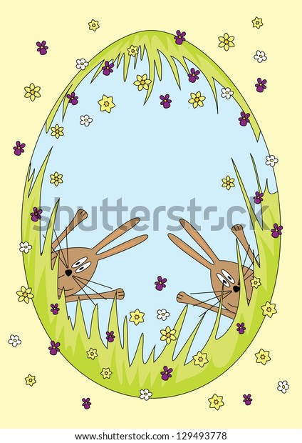 Vector illustration of an Easter egg with happy bunnies. Fully editable EPS 10, no transparencies, no gradients.