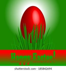 Vector illustration of Easter egg on grass