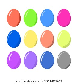 Vector illustration of Easter eggs collection isolated on a white background. Elements for holiday design.