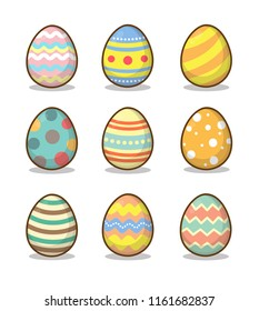 Vector illustration of Easter eggs collection on a white background