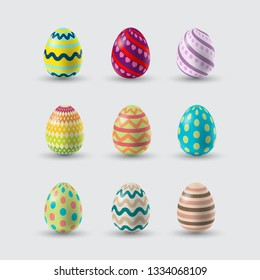 Vector Illustration Easter Eggs Collection Colorful