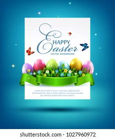 Vector illustration. Easter eggs with grass and flowers in green ribbon and card for text isolated on a blue background Design element, template wallpaper, flyers,invitation, brochure, greeting card.